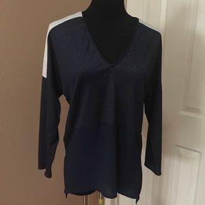 Zara blue and tan blouse